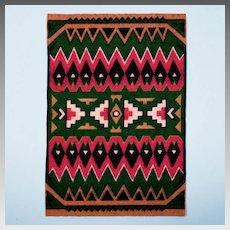 Tobacco Felt Rug Native American Boho Style Early 1900s