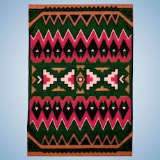 Tobacco Felt Rug Native American Boho Style Early 1900s