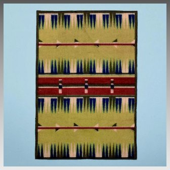 Native American Tobacco Felt Flannel Rug Mid Century Modern Style Early 1900s