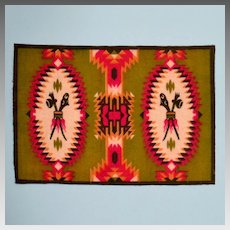 Tobacco Felt Rug Native American Design Early 1900s