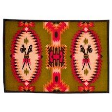 Tobacco Felt Rug Native American Design Early 1900s