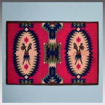 Native American Design Tobacco Felt Rug Early 1900s