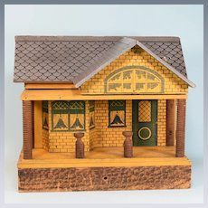 "Antique Bungalow Dollhouse by Cass or Converse Early 1900s 3/4"" Scale"