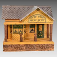 """Antique Bungalow Dollhouse by Cass or Converse Early 1900s 3/4"""" Scale"""