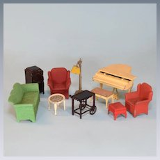 "Tootsie Toy Dollhouse Living Room Furniture 1930s 1/2"" Scale"