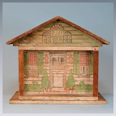 "Antique One Room Dollhouse by Converse with Tootsie Toy Furniture Early 1900s 1/2"" Scale"