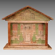 """Antique One Room Dollhouse by Converse with Tootsie Toy Furniture Early 1900s 1/2"""" Scale"""