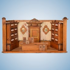 """Antique Miniature Grocery Shop Wooden Room Box by Gottschalk Early 1900s 1"""" Scale"""