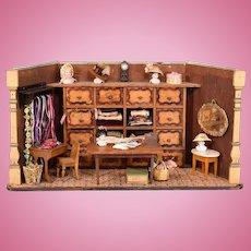 """Antique Miniature Millinery Shop / Dollhouse Hat Shop Late 1800s 1"""" Scale"""