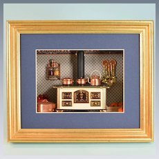 "Miniature Shadowbox with Bodo Hennig Brass and Enameled Metal Stove Early 1990s 1"" Scale"