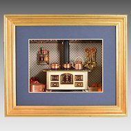 """Miniature Shadowbox with Bodo Hennig Brass and Enameled Metal Stove Early 1990s 1"""" Scale"""