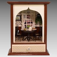"""Miniature Dollhouse Room Box Breakfast Nook Display 1"""" Scale Early 1980s"""