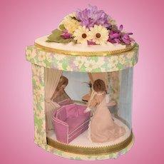 "Vintage Miniature Dollhouse Demilune Room Box 1980s 1"" Scale"