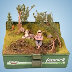 "Artisan Miniature Fishing Tackle Box Display Early 1990s 1"" Scale"
