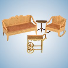 """Tootsie Toy Dollhouse Living Room Furniture 1930s 1/2"""" Scale"""