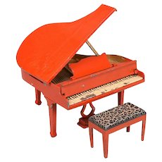 """Tootsie Toy Dollhouse Grand Piano and Bench – Red 1930s 1/2"""" Scale"""