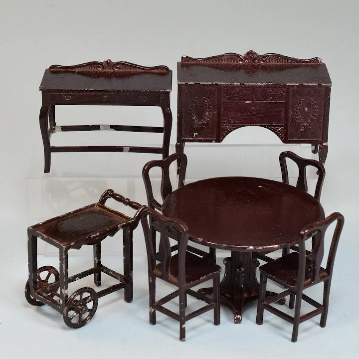 Marvelous 8 Pc Tootsie Toy Dollhouse Dining Room Set Dark Brown 1920S 1 2 Scale Cjindustries Chair Design For Home Cjindustriesco