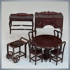 """Antique Dollhouse 8 Pc. Tootsie Toy  Dining Room Set – Dark Brown 1920s 1/2"""" Scale"""
