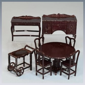 "8 Pc. Tootsie Toy Dollhouse Dining Room Set – Dark Brown 1920s 1/2"" Scale"