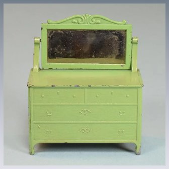"Tootsie Toy Dollhouse Dresser with Swivel Mirror – Green 1920s 1/2"" Scale"