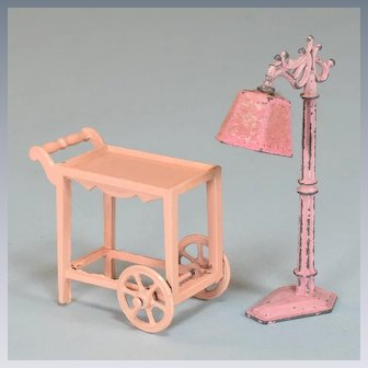 "Tootsie Toy Dollhouse Pink Tea Cart and Floor Lamp 1930s 1/2"" Scale"