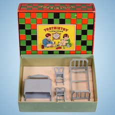 """4 Pc. Tootsie Toy Boxed Bedroom Furniture Set 1920s 1/2"""" Scale"""