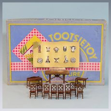 "24 Pc. Tootsie Toy Boxed Dining Room Set w/ Rare Accessories 1930s 1/2"" Scale"