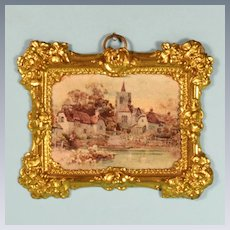 "Antique Dollhouse Ormolu Picture Frame with Litho Print by Erhard & Son Late 1800s 1"" Scale"