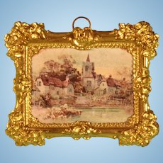 """Antique Dollhouse Ormolu Picture Frame with Litho Print by Erhard & Son Late 1800s 1"""" Scale"""
