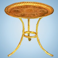 """Antique Dollhouse Ormolu Round Table by Erhard & Son Late 1800s 1"""" Scale"""