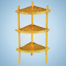 "Ormolu Corner Shelf / What-Not Shelf by Erhard & Son Late 1800s 1"" Scale"