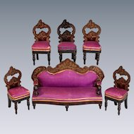 "6 Pc. Antique Dollhouse Biedermeier Boulle Parlor Suite Mid 1800s 1"" Scale"