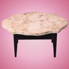 """Antique Dollhouse Biedermeier Marble Turtle Top Table Mid 1800s 1"""" Scale"""