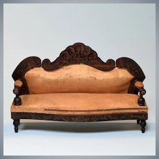 "Biedermeier Boulle Antique Dollhouse Sofa 1860s – 1870s Large 1"" Scale"