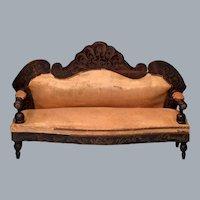 """Biedermeier Boulle Antique Dollhouse Sofa 1860s – 1870s Large 1"""" Scale"""