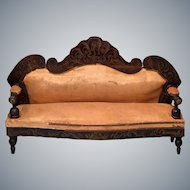 "Antique Dollhouse Biedermeier Boulle Sofa 1860s – 1870s Large 1"" Scale"