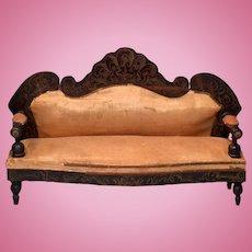 """Antique Dollhouse Biedermeier Boulle Sofa 1860s – 1870s Large 1"""" Scale"""