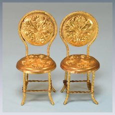 "Pair of Art Nouveau Ormolu Dollhouse Chairs by Erhard & Son Late 1800s 1"" Scale"