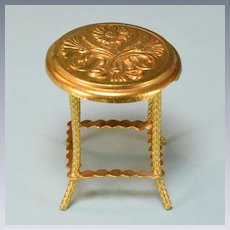 "Art Nouveau Ormolu Dollhouse Round Side Table by Erhard & Son Late 1800s 1"" Scale"