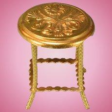 "Art Nouveau Ormolu Dollhouse Round Side Table by Erhard & Son Late 1800s 1"" Scale"