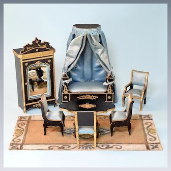 """Miniature French Dollhouse Salon Furniture by Louis Badeuille Late 1800s 1"""" Scale"""