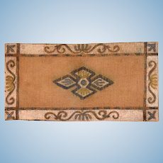 """Antique Dollhouse Hand-Painted Canvas Rug Large 1"""" Scale"""