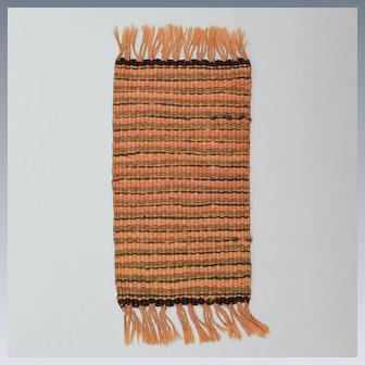 """Vintage Dollhouse Miniature Rug Hand Woven 1920s – 1930s 1"""" Scale"""
