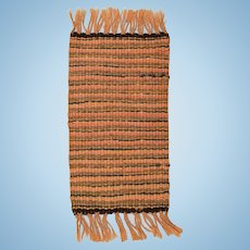 "Vintage Dollhouse Miniature Rug Hand Woven 1920s – 1930s 1"" Scale"