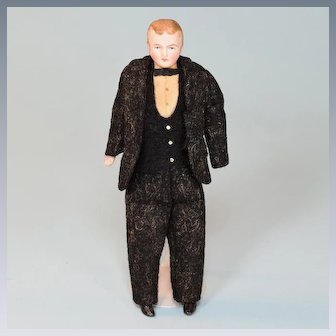 """6 1/2"""" Antique German Bisque Dollhouse Gentleman Doll Factory Original Clothing Early 1900s"""