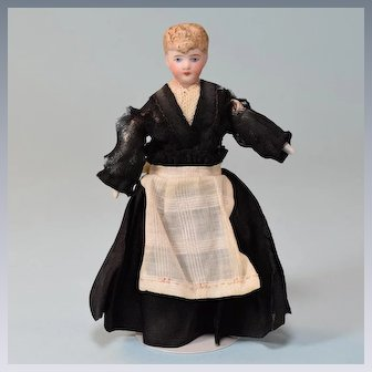 """5"""" German Bisque Dollhouse Maid Doll Factory Original Clothing Late 1800s"""