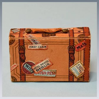 """German Suitcase Candy Container Early 1900s 1"""" Scale"""