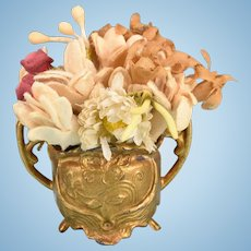 """Antique German Dollhouse Gilt Cast Metal Jardiniere with Flowers Late 1800s Large 1"""" Scale"""