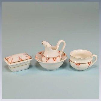 """Antique Miniature Hand-Painted Porcelain Toilette Set Large 1"""" Scale"""