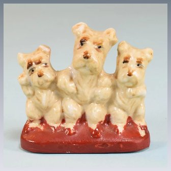 Occupied Japan Porcelain Trio of Scottish Terriers Puppy Dogs